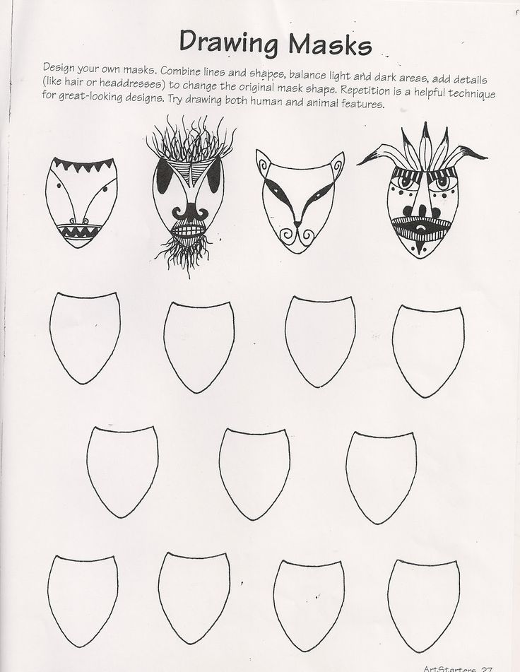 Ande Cook's Drawing Masks worksheet and Art Education