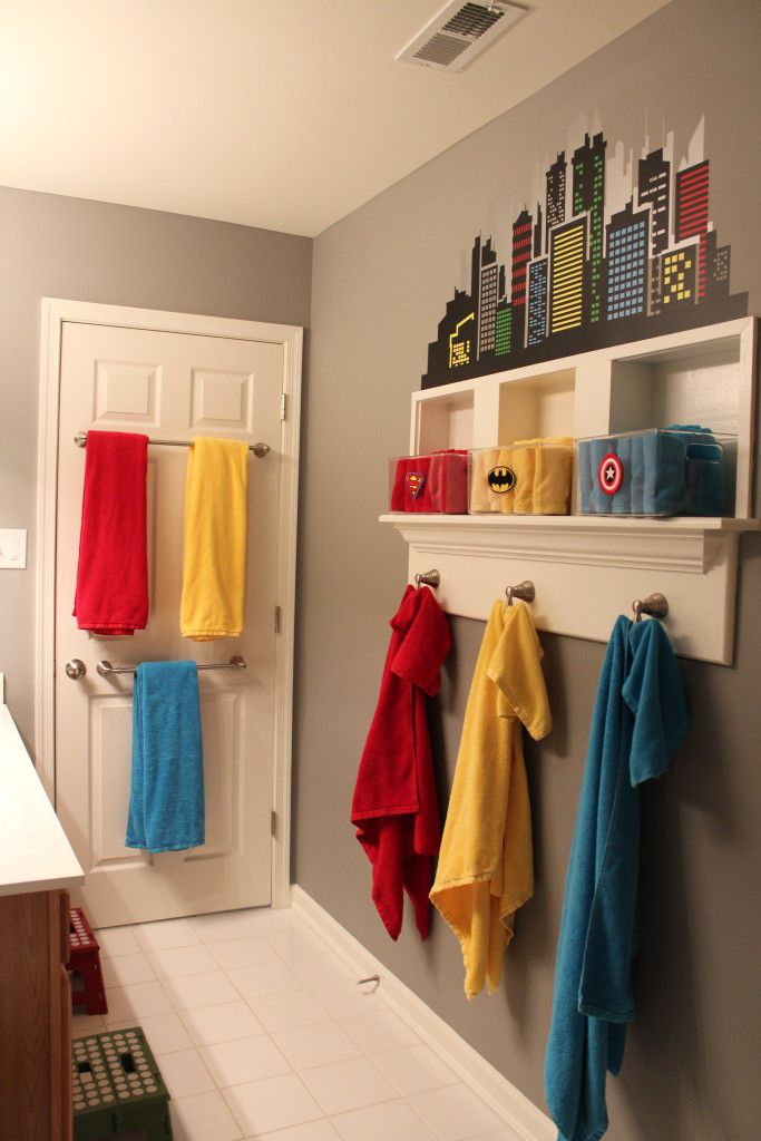 Super-hero Themed Boys Bathroom – love the mix of organization and fun!
