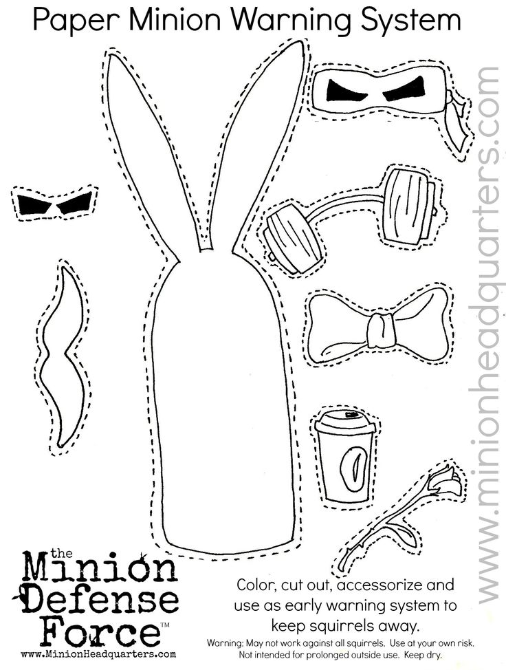 DIY cut out and keep coloring page. Make your own Minion