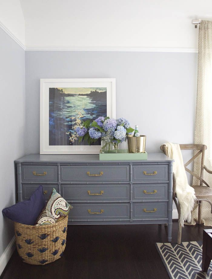 Dresser painted with the color Wolf Gray by Benjamin Moore Design Sponge  Furniture Paint