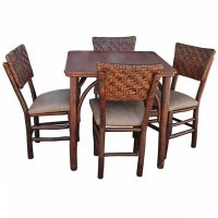 Rare Signed Old Hickory Gaming Table & Matching Chairs