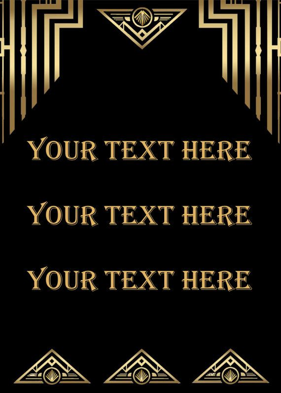 Great Gatsby Style Art Deco Template Birthday Party Signs Quote Poster DOWNLOAD Instantly