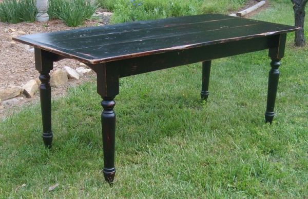 Gorgeous black over red painted farmhouse table I can