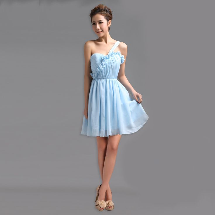 Cute one shoulder chiffon short length bridesmaid dress