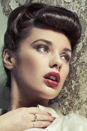 vintage updo with bangs retro