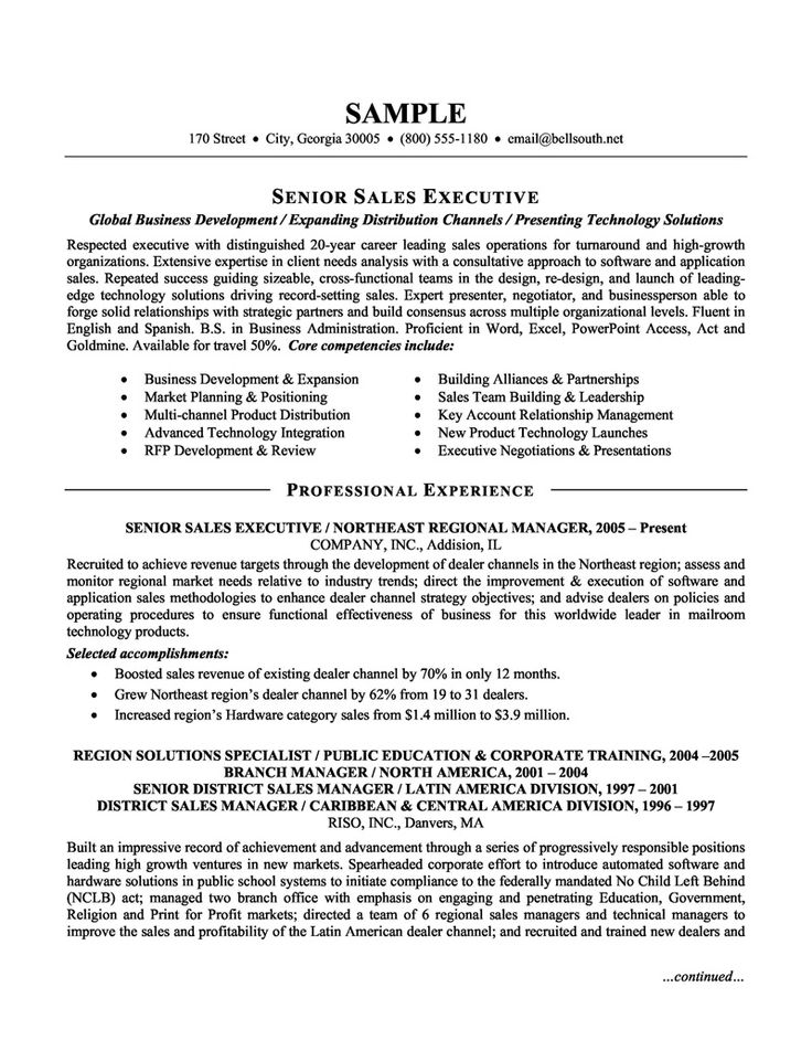 Executive Resume Format Template
