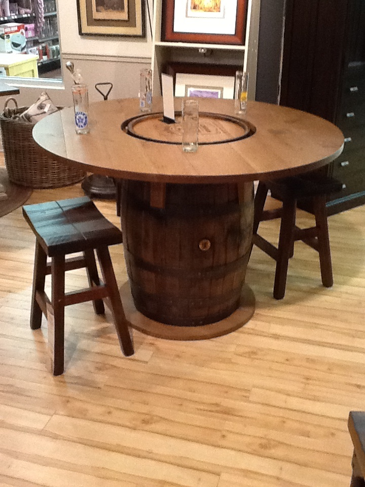 whiskey barrel pub table and chairs chair massager pad jack daniels bar. solid maple wood stools. | bar pinterest ...