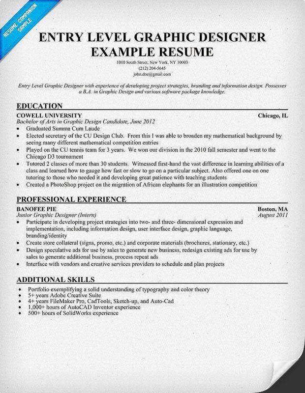 Entry Level Graphic Designer Resume Student