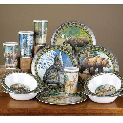 rustic cabin living room decorating ideas large floor mirrors for american wilderness dinnerware set | shop nwf pinterest ...