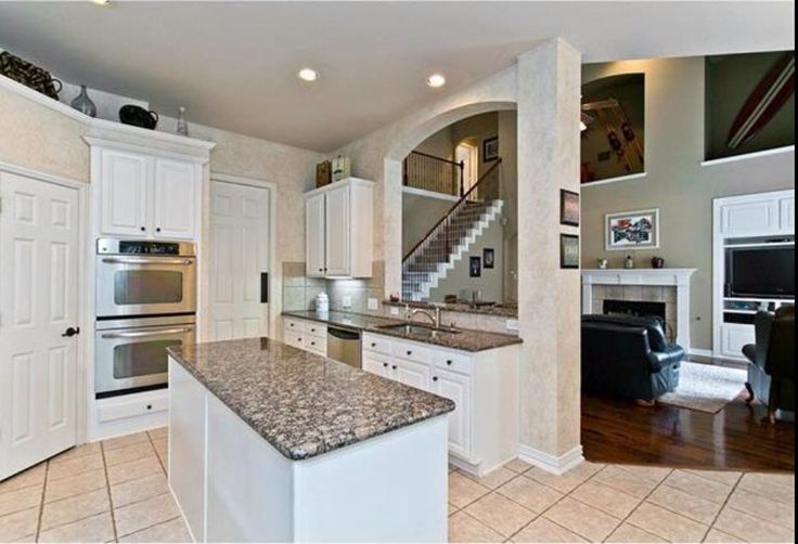 White Kitchen Cabinets With Light Gray Island White Cabinets, Baltic Brown Granite | Kitchen | Pinterest