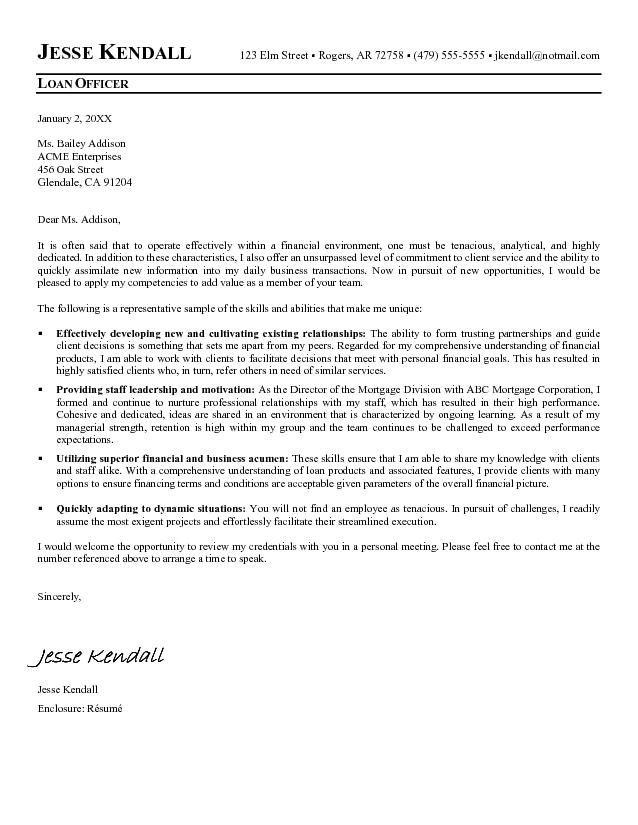Loan Officer Cover Letter Sample  Loan Officer  Pinterest  Cover letter sample and Letter sample