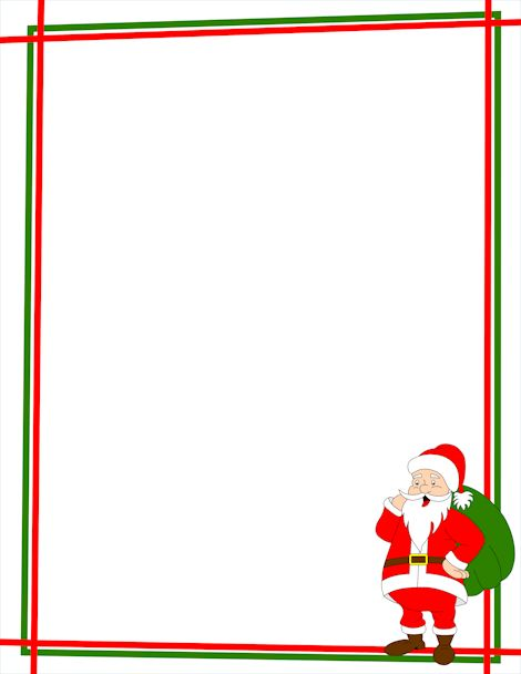 A Christmas Page Border With Santa Claus In The Bottom