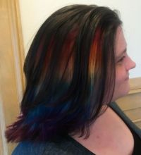 Black Bobbed Hair With Peekaboo Rainbow Hair Colors Ideas ...