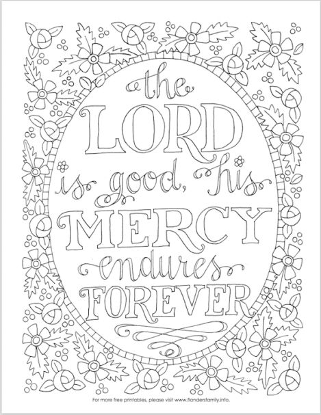 Free printable coloring pages with Scripture emphasis from