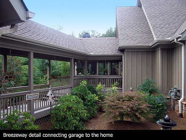 Covered Deck And Breezeway Leading To The Detached Garage