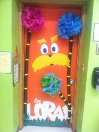 Dr Seuss door decoration for the library. I love The Lorax ...