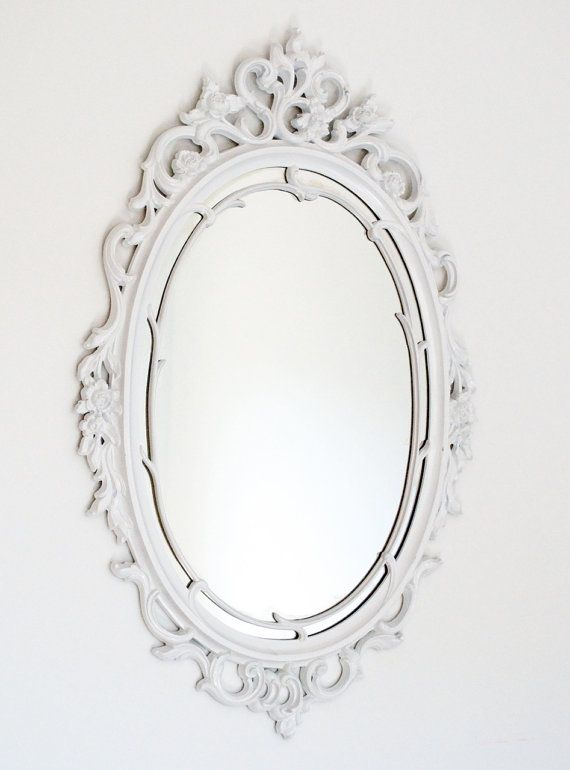 Vintage Large White Oval Ornate Boudoir Mirror  Powder