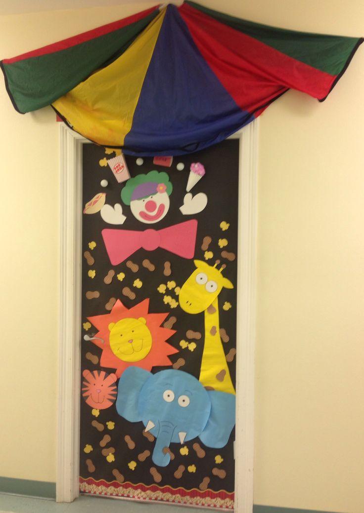Circus themed classroom door by Erica & Allison. Animals