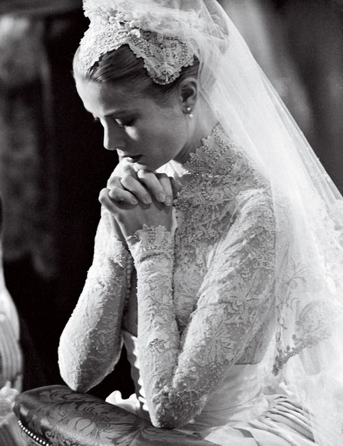 Image result for images of princess grass and prince rainier kneeling during marriage ceremony
