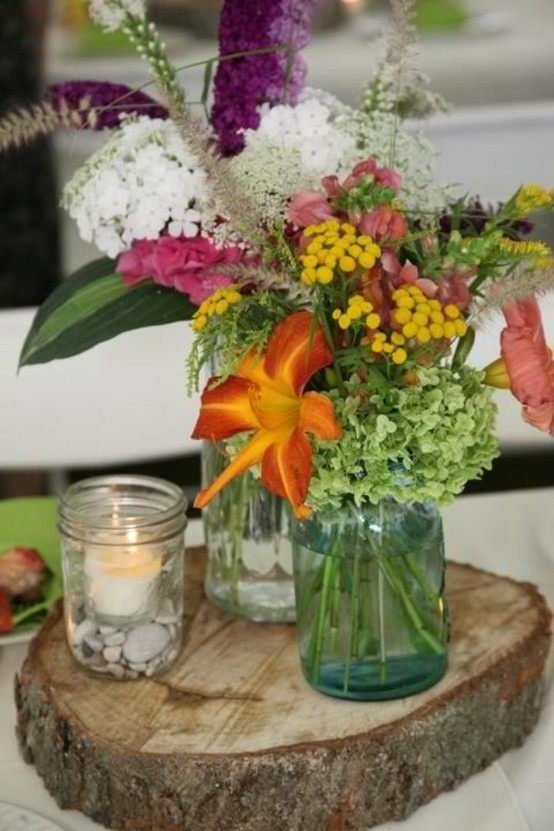 Rustic wildflower centerpieces on wood slab  Simply Exquisite by the bay  Pinterest  Trees