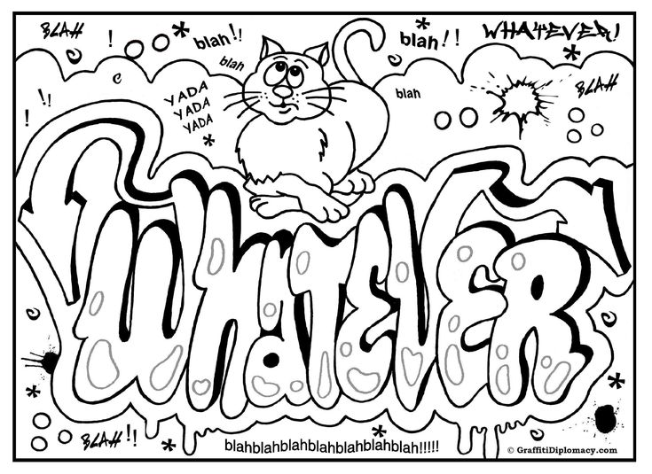 graffiti coloring page, free printable graffiti room signs
