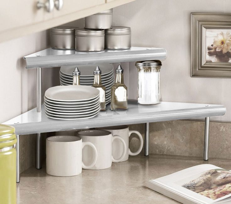Marimac 2Tier Kitchen Counter Corner Shelf in Satin