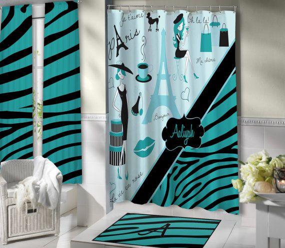 Stylish Paris Shower Curtain Aqua Blue bathroom theme