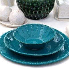 Inexpensive Kitchen Table Sets Price Pfister Faucet Repair Dark Teal Dinnerware Set - Dinner Salad Dessert Bread ...
