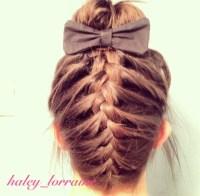 Shoulder length braided sock bun hair | Hair ideas ...
