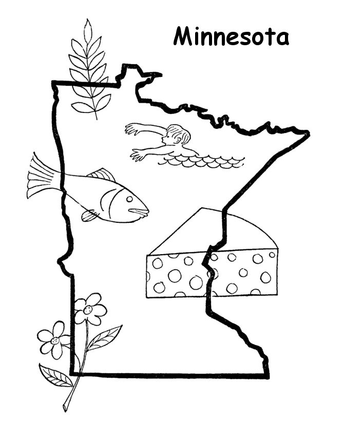 Minnesota, State outline and Coloring pages on Pinterest