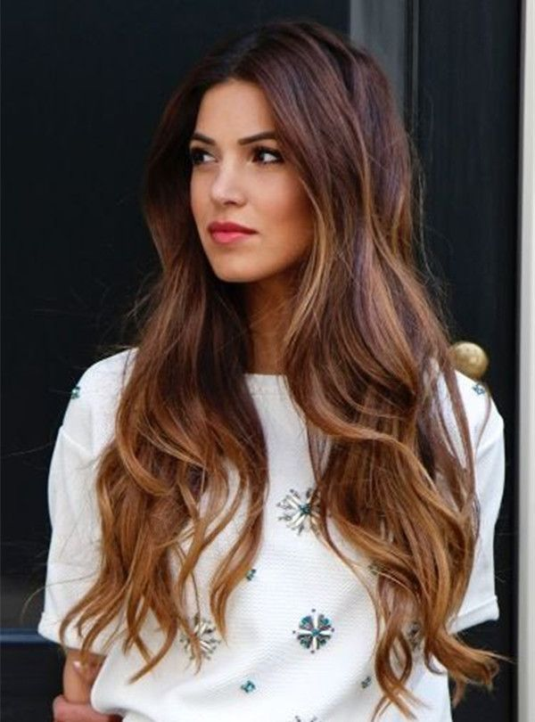 Brown ombre & balayage hairstyle, long wavy hair with highlight