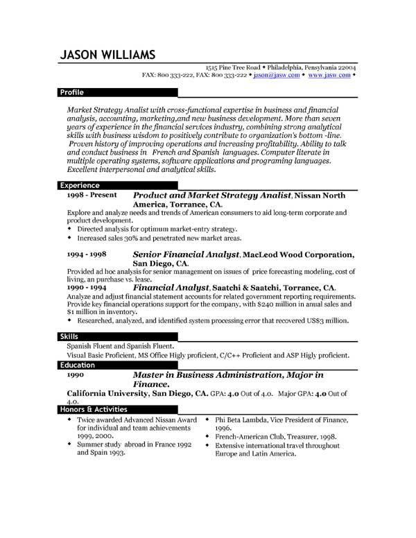 Good Resume Layout Example