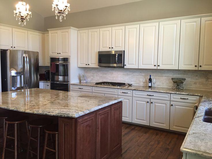 Cream glaze Timberlake cabinets maple Auburn glaze island