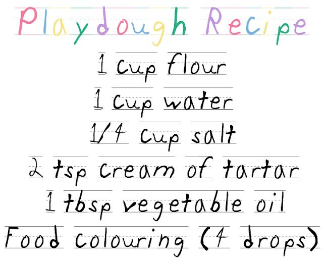 Homemade playdough recipe thegluegungirl.blogspot.com