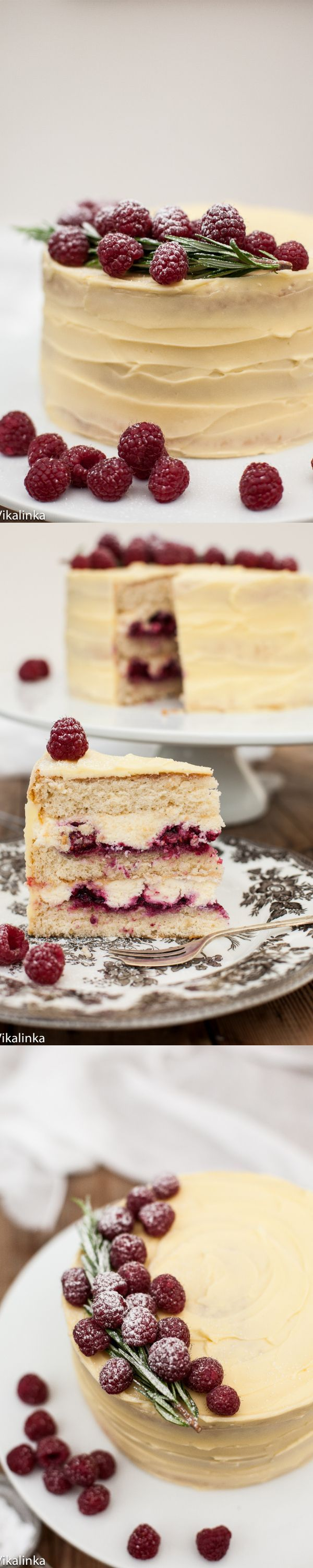 Delicate vanilla cake layers filled with mascarpone cream and raspberry compote and covered with white chocolate buttercream. A
