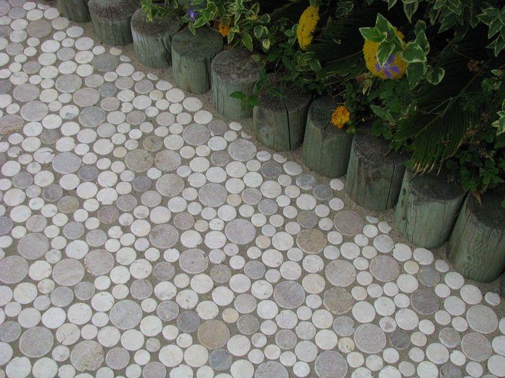 Moon stone mosaic tile outdoor path