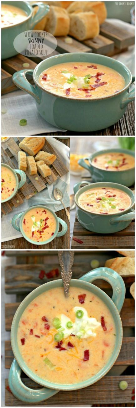Slow Cooker Skinny Loaded Potato Soup, healthy comfort food!!! | The Cookie Rookie: