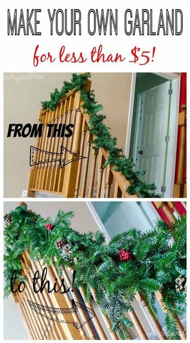 Make your home look festive for less this holiday season with easy DIY dollar store Christmas decor ideas. Wreaths, candles, centerpieces, wall art, ornaments, vases, gifts and more!Make your own garland using cheap $2 garland strands from Walmart as a base - then bulk it up with free clippings from the tree farm: