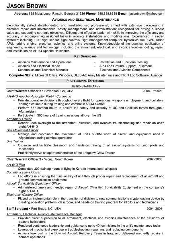 Maintenance Technician Resume Examples