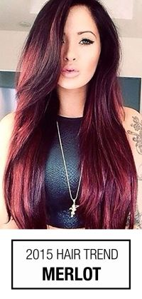 Wine red hair color is such a popular trend this season ...
