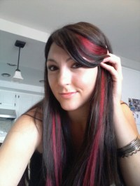 Dark brown hair with pink streaks.  The fuck? O.o Clearly