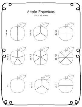 Apple Fractions Worksheet FREEBIE! Visit www