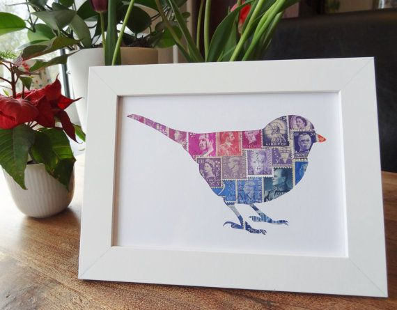 Little Stamp Bird Framed Postage Stamp Art By Bulbjerg On