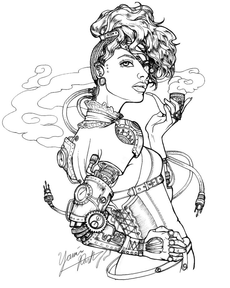 Victorian Steampunk Drawings Fine line drawing (0.05mm