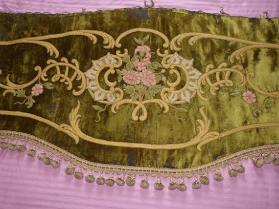 Antique 1800s window curtain valance French Chateau