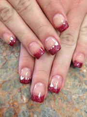 red with hearts valentine nails