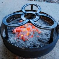Campfire stand & charcoal ash pan for outdoor camp cooking ...