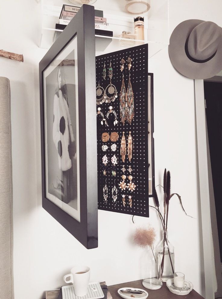 BlackWall Mounted Jewelry Organizer Photo Frame  Wall