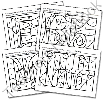 Hidden Alphabet Coloring Worksheets product from