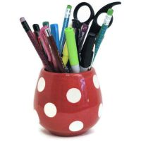 Ceramic Pencil Holder Black Red with PolkaDots. $13.00 ...